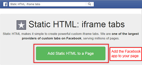 Install Static HTML plugin on your FB account